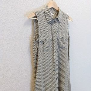 Equipment tank shirt dress 100% silk with pockets